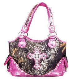 Western Large Canvas Pink Camouflage Cross Rhinestone Purse - Handbags, Bling & More!