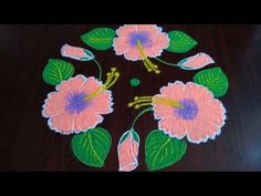 Indian Rangoli, Simple Rangoli, New Rangoli Designs, Simple Flowers, Hibiscus Flowers, Necklace Designs, Blouse Designs, Festive, Beaded Necklace