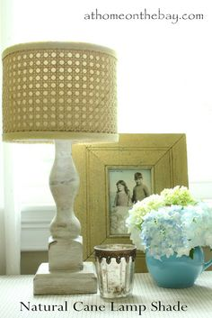 DIY: Horchow Inspired Lamp Shade - At Home on the Bay TUTORIAL and link for supplies... (drum shade for basement)