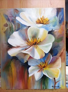 Beautiful white flower painting could be done in watercolor. Acrylic or oil painting.