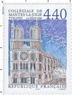 Timbre : 1998 COLLÉGIALE DE MANTES-LA-JOLIE YVELINES   WikiTimbres