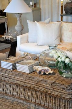 High End Coastal Decor. When coastal decorating a small room, always make sure to make use of flexible furnishings. Le Living, My Living Room, Coastal Living, Coastal Decor, Home And Living, Living Spaces, Coastal Style, Living Area, Stylish Coffee Table