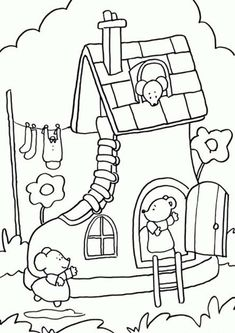Free & Easy To Print House Coloring Pages - Tulamama House Colouring Pages, Cute Coloring Pages, Free Printable Coloring Pages, Adult Coloring Pages, Coloring Books, Art Drawings For Kids, Doodle Drawings, Drawing For Kids, Crochet Applique Patterns Free