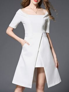 Buy it now. White Boat Neck Pockets Asymmetric Dress. White Boat Neck Short Sleeve Polyester Asymmetrical Knee Length Plain Fabric has no stretch Summer Casual Day Dresses. , vestidoinformal, casual, camiseta, playeros, informales, túnica, estilocamiseta, camisola, vestidodealgodón, vestidosdealgodón, verano, informal, playa, playero, capa, capas, vestidobabydoll, camisole, túnica, shift, pleat, pleated, drape, t-shape, daisy, foldedshoulder, summer, loosefit, tunictop, swing, day, offthe...