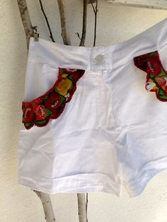 Shorts from India with applications from Guatemalan textiles
