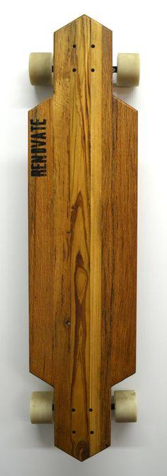 Reclaimed Solid Wood Longboard Flight40 by RenovateLongboards, $125.00