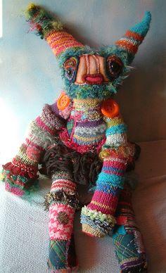 rainbow warrior rabbit plushie of knitted patchwork boho cute Art doll Fabric Dolls, Fabric Art, Softies, Monster Dolls, Toy Art, Little Doll, Soft Sculpture, Handmade Toys, Doll Toys