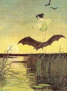 """""""On the bat's back I do fly After summer merrily""""  ~ Ariel's song from Act five of William Shakespeare's """"The Tempest""""  Illustration by Ida Rentoul Outhwaite"""