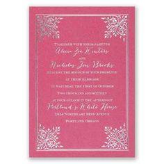 forever flourish - fuchsia shimmer | foil wedding invitations | custom wedding invites at Invitations By Dawn