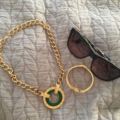 "Gold and green vintage necklace Vintage gold (plated) and green necklace. Hook closure and about 9"" drop. Jewelry Necklaces"