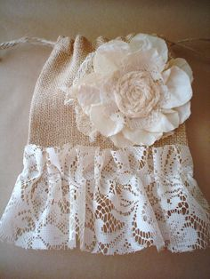 Burlap and Lace Bag Purse Pouch Gift Bag by BrownPaperNest on Etsy, $11.00
