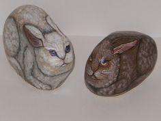 Rockin Stone Rabbit by Lynnesueart on Etsy