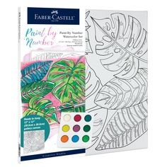Beginners can create a palm leaves watercolor painting with Watercolor Paint by Number Tropical! This paint by number includes a unique paint pallet, paint brush and seperate number guide that will allow you to create a masterpiece. With the quality Faber-Castell products you will create a watercolor piece of art that you will be proud to hang on your wall! Watercolor Kit, Watercolor Projects, Watercolour Painting, Watercolors, Tropical Artwork, Point Paint, Art Sets For Kids, Artist Materials, Painting Activities