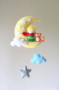 Baby mobile The Little Prince mobile Moon by GiseleBlakerDesigns Felt Crafts, Diy And Crafts, Best Cell Phone Deals, Felt Mobile, The Little Prince, Art Wall Kids, Felt Animals, Baby Birthday, Baby Gifts