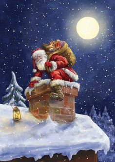 c est noel - Page 7 Christmas Scenes, Noel Christmas, Vintage Christmas Cards, Christmas Pictures, Winter Christmas, Christmas Crafts, Christmas Decorations, Father Christmas, Christmas Eve Images