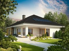 Bungalow with attic to adapt, basement and a garage for two cars – Amazing Architecture Magazine Style At Home, Architecture Design, Amazing Architecture, One Story Homes, Modern House Plans, Prefab Homes, Story House, Home Fashion, Building Design