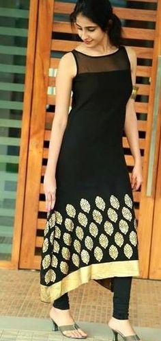 New Latest Designer Black Kurti Salwar Designs, Blouse Designs, Pakistani Dresses, Indian Dresses, Indian Outfits, Indian Attire, Indian Ethnic Wear, Ethnic Fashion, Indian Fashion