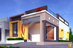 Modern Exterior Home Design House Arch Design, Single Floor House Design, Small House Design, Roof Design, Modern House Design, Front Elevation Designs, House Elevation, Building Elevation, Independent House