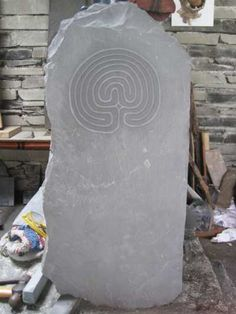 Welsh slate, hand carved Wall Mounted or Wall Hanging sculpture by artist Jon Evans titled: 'Celtic Labyrinth (Small Traditional Carved Slates)' £834 #sculpture #art