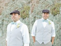 Mexico vow renewal by Sara RIchardson Photography http://lovetoastblog.com/2013/09/16/mexico-vow-renewal-sara-richardson-photography/ Groom in newsboy hat, bow tie, and vest
