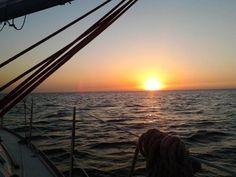 Noordzee, zonsondergang