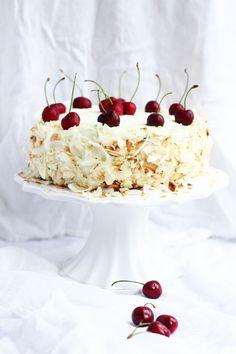 Coconut Sponge Cake with Mascarpone and Cherry Jam