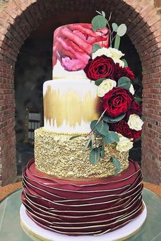 Gold Wedding Cakes Beautiful merlot and gold wedding cake ,fall wedding cake Amazing Wedding Cakes, Elegant Wedding Cakes, Elegant Cakes, Wedding Cake Designs, Amazing Cakes, Metallic Wedding Cakes, Burgundy Wedding Cake, Fall Wedding Cakes, Gold Wedding