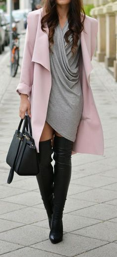 Pink Long Sleeve Cardigan, Grey Pleated Dress, Black Over the knee boots.