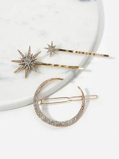 810a908855a3 Rhinestone Decorated Metal Hairpin 3pack -SHEIN(SHEINSIDE) Metal Hair  Clips