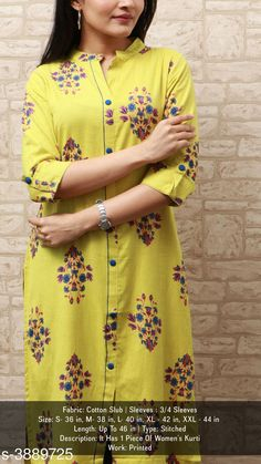 Checkout this latest Kurtis Product Name: *Women Cotton Slub A-line Printed Yellow Kurti* Fabric: Cotton Slub Sleeve Length: Three-Quarter Sleeves Pattern: Printed Combo of: Single Sizes: S Country of Origin: India Easy Returns Available In Case Of Any Issue   Catalog Rating: ★3.9 (7258)  Catalog Name: Women Cotton Slub A-line Printed Yellow Kurti CatalogID_547100 C74-SC1001 Code: 503-3889725-087