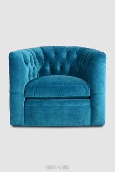 Oliver tufted barrel chair with swivel base in Como Cyan blue velvet Velvet Furniture, Living Room Furniture, Tight Back Sofa, Cyan Blue, Fabric Armchairs, Custom Sofa, Tufted Sofa, Barrel Chair, Quality Furniture