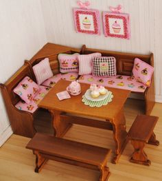 Miniature Kitchen Dining Nook Set With Cupcake Fabric
