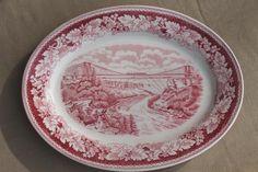 vintage red transferware Currier & Ives china Suspension Bridge platter Homer Laughlin