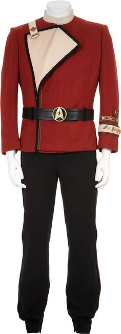 Admiral James T Kirk's uniform, worn in The Wrath of Khan. Sold for $44,812.50 in 2010.
