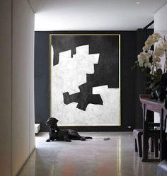 Black And White Painting Minimalist Art, Large Canvas Art. Black And White Painting, White Art, Modern Art, Contemporary Art, Deco Paint, Unique Paintings, Large Canvas Art, Minimalist Art, Geometric Art