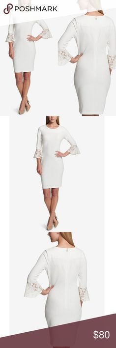 """TOMMY HILFIGER BELL LACE SLEEVES DRESS Tommy Hilfiger's dress offers every occasion sophistication with a lovely lace cuffs and a tailored fit. Accessorize chicly. . Concealed back zipper with hook and eye closure. . Knee length. . Round neckline, sheath silhouett. . 3/4 bell sleeves with lace cuffs. . BUST 36"""" .WAIST 32 """" . LENGTH 36"""" . Polyester /spandex. Lining, lace combo cotton. . COLOR :IVORY  . Tommy Hilfiger Dresses Midi"""