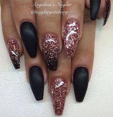A manicure is a cosmetic elegance therapy for the finger nails and hands. A manicure could deal with just the hands, just the nails, or Wedding Acrylic Nails, Acrylic Nail Art, Wedding Nails, Get Nails, Matte Nails, Prom Nails, Rose Gold Glitter Nails, Black Sparkle Nails, Black Gel Nails