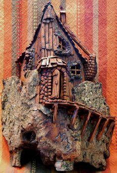 """""""Y"""" Chimney Cottonwood bark carving by N. Minske"""