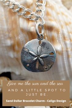 Sand Dollar Bracelet Charm -  Beach Charms - Beach Jewelry by Caligo Design - Nature Inspired Jewelry -  #sanddollarCharm #sanddollarJewelry  #beachCharm #beachJewelry #natureInspiredJewelry  #beachcombingCharms #coralReefJewelry #seaLifeCharms  #CharmingBeachCharms  #beachBraceletCharm #clypeasteroidiaJewelry #seaBiscuitCharm #silverSandDollarCharm Ocean Jewelry, Nautical Jewelry, Beach Jewelry, Handmade Bracelets, Handmade Jewelry, Washer Necklace, Pendant Necklace, Nature Inspired, Pandora Jewelry