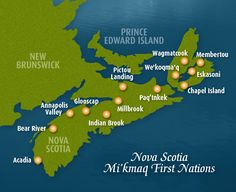 Map of Mi'Kmaq First Nations in Nova Scotia Native American Symbols, Native American Quotes, Native American Women, Native American History, American Indians, Acadie, Indigenous Education, Atlantic Canada, Canadian History