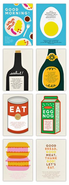 posters [erin jang for paperless post via miss moss] Food Graphic Design, Graphic Design Typography, Food Design, Graphic Design Illustration, Graphic Prints, Art Prints, Layout Design, Design Art, Print Design