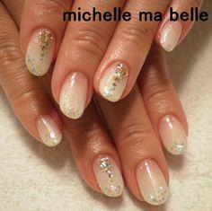 ホロ★ブライダルネイル 【ネイルズミシェルマベル】 http://nail-beautynavi.woman.excite.co.jp/design/detail/25105?pint ≪ #nail #nails #nailart #softgel #フレンチ #ネイル #ナチュラル #ソフトジェル #ブライダルネイル ≫
