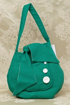 Kelly Green Girlie 50s Gidget Bag With White by ErinRoseDesign
