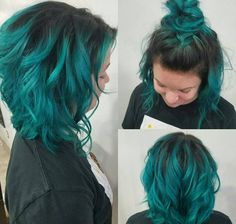 Cabelo colorido verde turquesa Colored green turquoise hair - Absolutely Hot Cuts and Colour - Brown Ombre Hair, Ombre Hair Color, Short Teal Hair, Dark Teal Hair, Funky Hair, Bright Hair, White Hair, Hair Colors, Hair Inspo