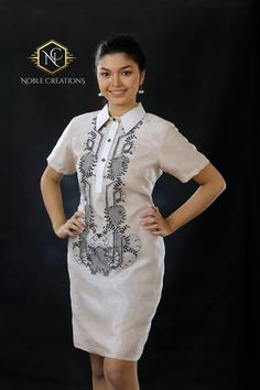 ce64c6e0b0 Modern FILIPINIANA Dress Silk BARONG TAGALOG Philippine National Costume -  Beige