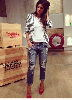 women's spring fashion stripe crop blazer jacket+white pullover tops+denim jean destroyed ripped pants trousers