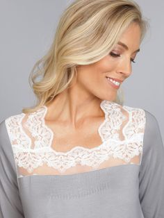 7e3cb67bf4 Carolyn - Luxury Nightwear - Schweitzer Linen From the delicate Ivory lace  and stunning garden display along the neck and shoulder to the way it feels  when ...