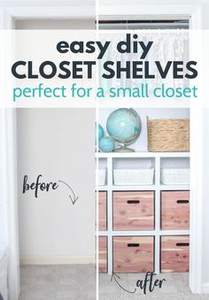 Learn how to build closet shelves for any closet in your home. These DIY closet shelves are inexpensive and easy to customize for any size closet, including really small closets. These shelves don't require any fancy tools or extensive DIY knowledge and will add much needed storage to any closet. Come see just how easy they are to make. Diy Closet Shelves, Closet Built Ins, Closet Storage, Furniture Makeover, Diy Furniture, Bedroom Decor On A Budget, Diy Ideas, Decor Ideas, Build A Closet