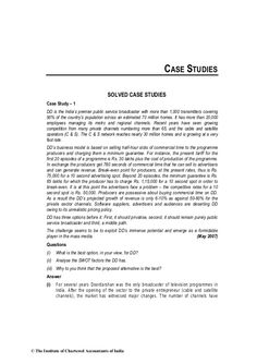 CASE STUDIES SOLVED CASE STUDIES Case Study – 1 DD is the India's premier public…