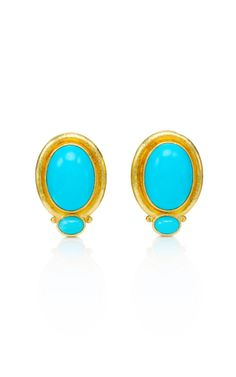 Tara Compton Estate Jewelry Elizabeth Locke Turquoise Cabochon Earrings